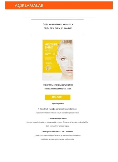 Missha Besleyici Jel Maske  Melting Embo Gel Mask (Nourishing-Bomb) Renksiz
